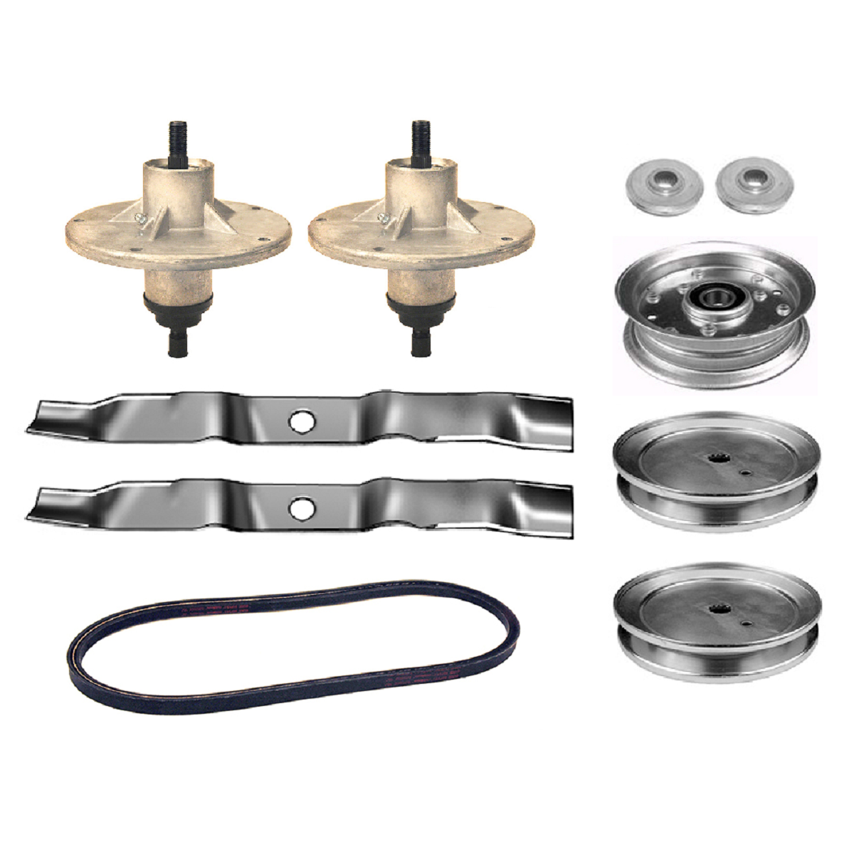 "42"" deck rebuild kit spindles blades belt pulley adapter 690387"