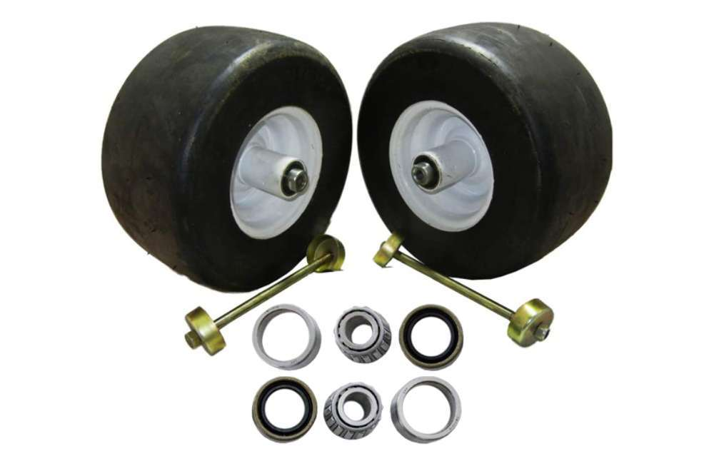 Set of 2 riding lawn mower 13X6.5X6 white no flat solid front puncture proof tires replace 605199