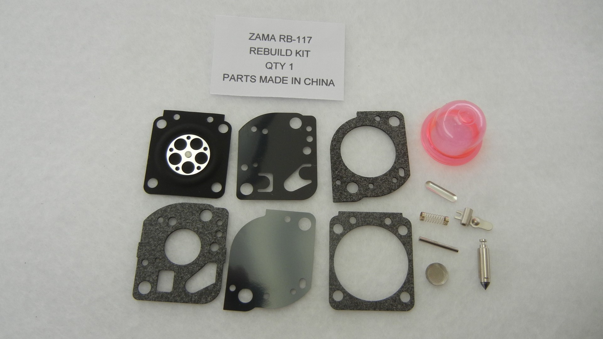 Carburetor rebuild kit replaces Zama RB-117 C1U-W19