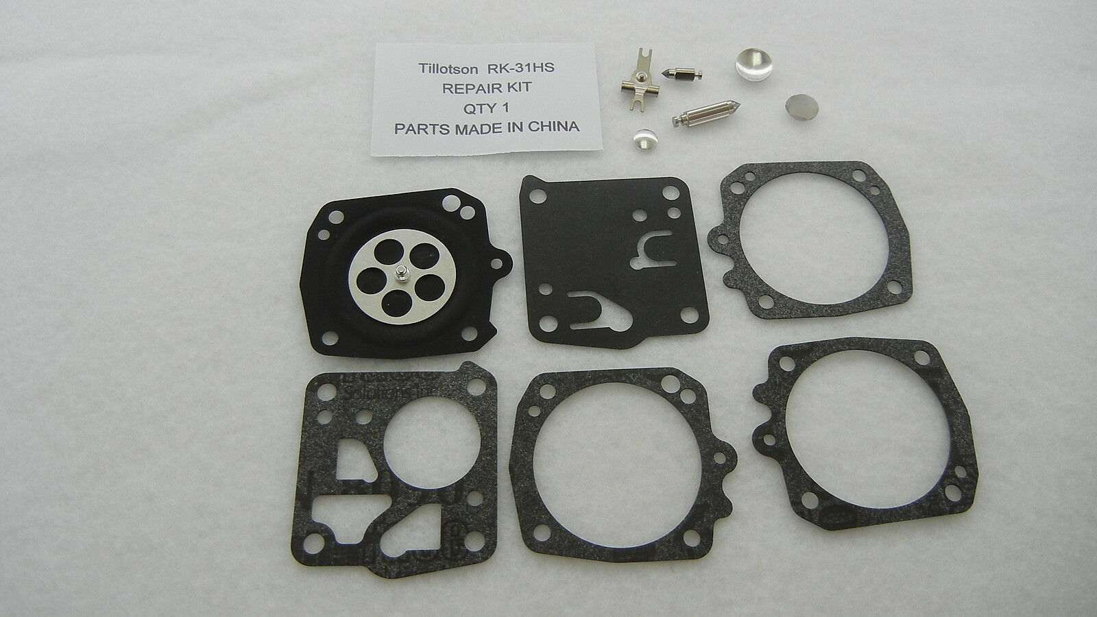 Carburetor rebuild kit replaces Tillotson RK-31HS
