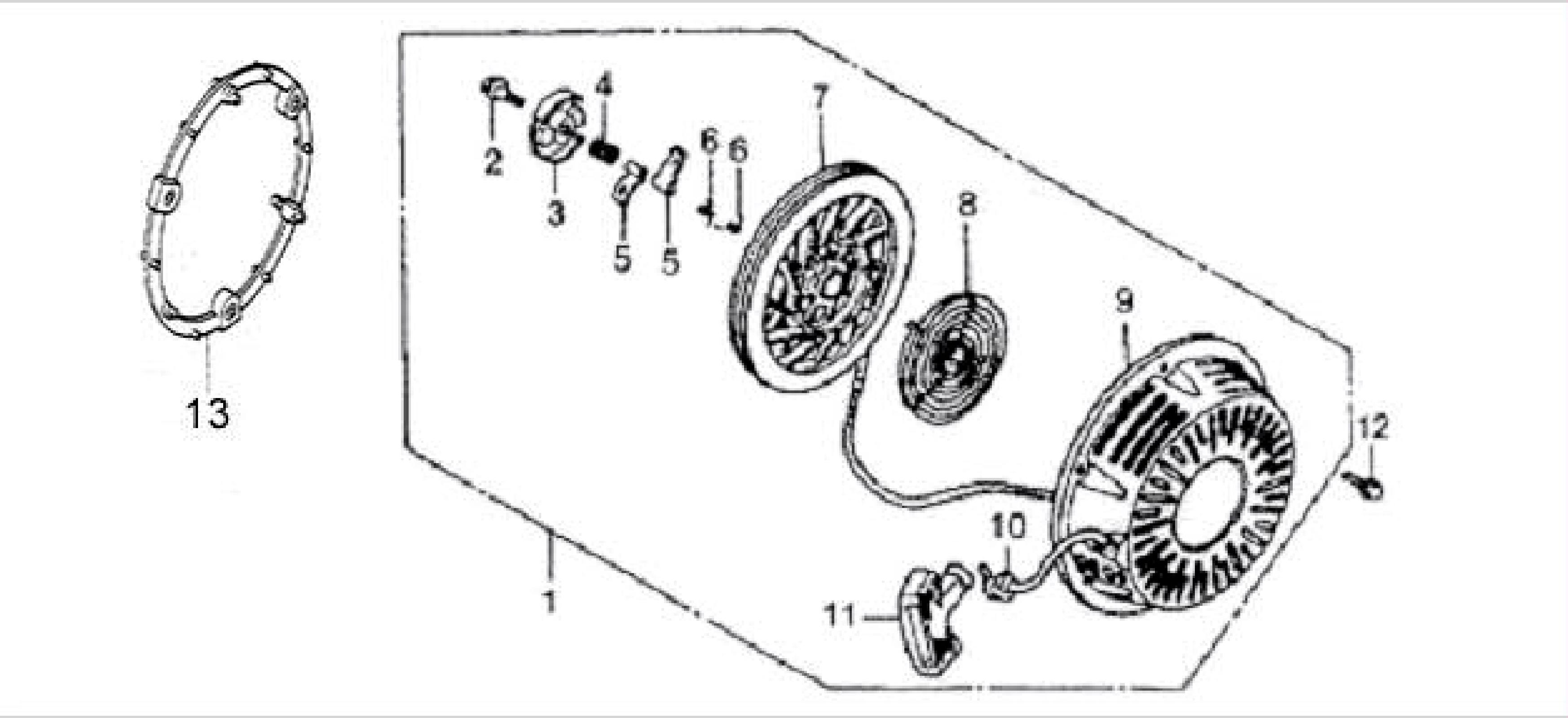 Recoil Starter System also Diagram further Governor Spring Renamed furthermore Carburetor System Assy likewise Reduction. on honda gx200 engine parts diagram